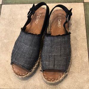 "Toms ""Clara"" Black chambray leather espadrilles"